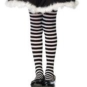 Girls Black White Striped Tights
